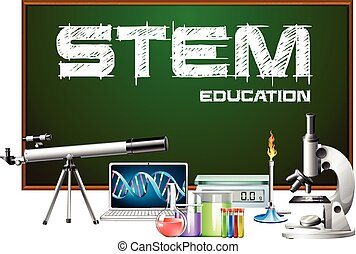 Stem education poster design with science equipments illustration