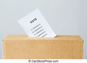 stem, ingeschoven, in, stembus, gleuf, op, verkiezing