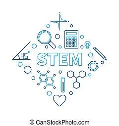 STEM modern vector concept outline illustration - STEM ...