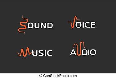 stem, symbool, logo, muziek, logotype, golf, vector, concepts., hardloop wedstrijd, mal, abstract, geluid, audio, registreerapparaat, teken., set, etiket