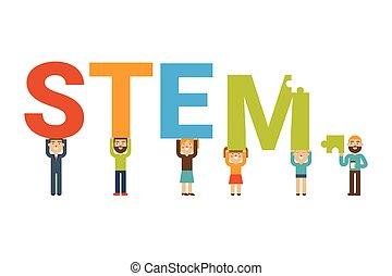 STEM team concept - STEM - science, technology, engineering ...