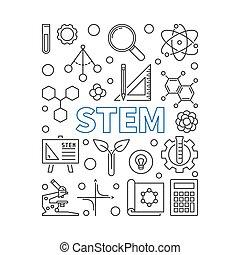 STEM vector concept illustration in thin line style - STEM ...