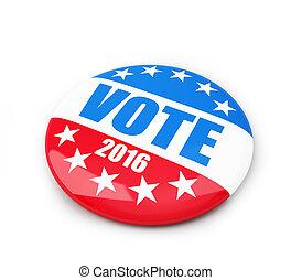 stem, verkiezing, badge, knoop, voor, 2016