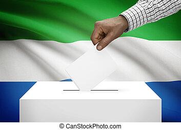 stembus, met, nationale vlag, op achtergrond, -, sierra...