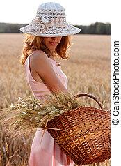 stemningsfuld, hvede, kurv, hat, felt, herskabelig, kvinde