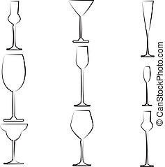 Stemware abstract - Set of nine black silhouettes of...