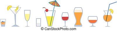 stemware - Set of colorful graphic stemware. EPS 10