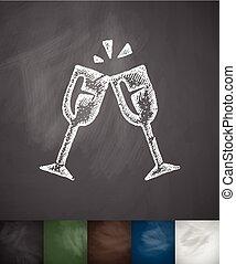 stemware icon. Hand drawn vector illustration. Chalkboard...