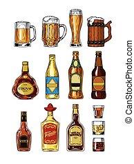 stemware, set, flessen, alcohol