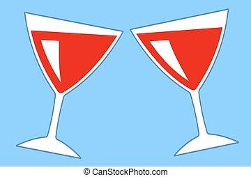 Stemware - Illustration of the flat wine glasses icon