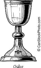 illustration of Chalice - Stemware. Vector hand drawn ...