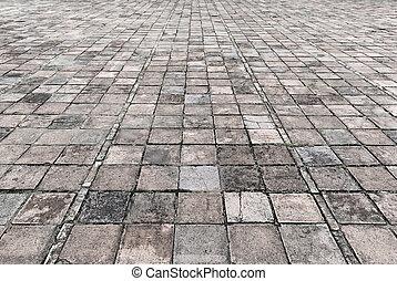sten, årgång, struktur, trottoar, gata, väg