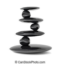sten, balance, begreb, zen