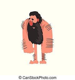 sten, caveman, ælde, forhistoriske, karakter, skægget, muskuløse, vektor, illustration, baggrund, hvid, primitiv, cartoon, mand