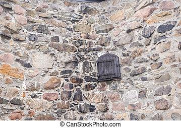 sten, dörr, vägg, fält, bakgrund, gammal, trä