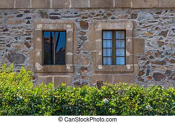 sten, fönstren, trä, gammal, fasad