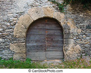 sten, forntida, dörr, medeltida, vägg, välvd