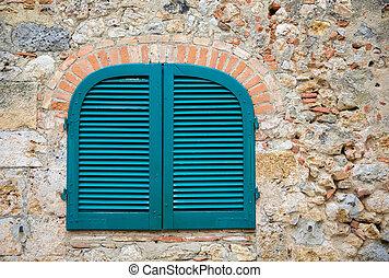 sten, forntida, tuscan blå, vägg, stänger med fönsterluckor