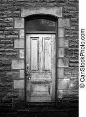 sten, gammal, trähus, vägg, urblekt, dörr