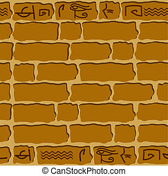 sten, hieroglyffer, ornamentere, seamless, ægyptisk