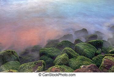 sten, ind, den, havet, during, solnedgang