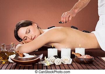 sten, kvinna, varm, terapi, kurort, mottagande