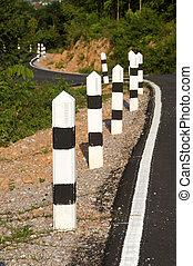 sten, pelare, förhindra, olyckor, vägen, curved.