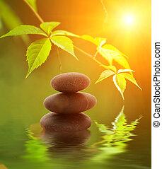 sten tårn, jeg reflekterede ind, rendered, wate