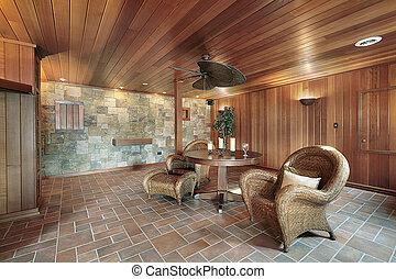 sten, ved, väggar, källarvåning