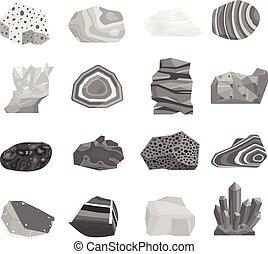 sten, vektor, mineral, set.