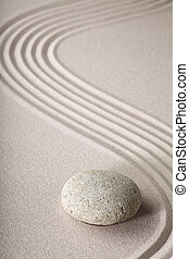 sten, zen trädgård, sand