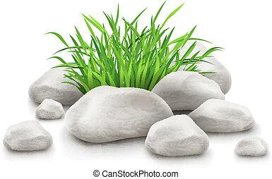 stenar, element, design, grönt gräs, landskap