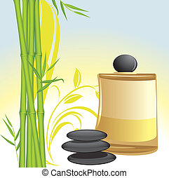 stenar, olja, bambu, svart, kurort