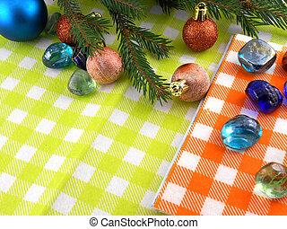 stenar, sätta, inbjudan, träd, år, klumpa ihop sig, färsk, helgdag, julkort