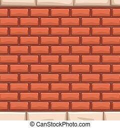 stenar, tegelstenar, vit röd, vägg