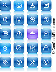 Stencil blue buttons for internet