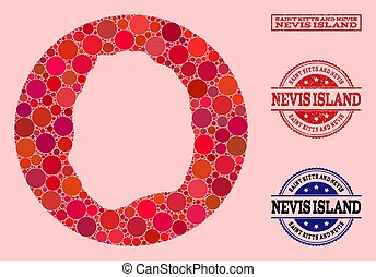 Stencil Circle Map of Nevis Island Mosaic and Grunge Stamp