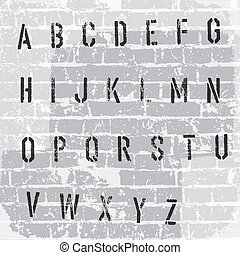 Stencil grunge alphabet. Vector, EPS10