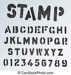 stencil, grunge, bélyeg, abc, tervezés, számok, irodalomtudomány, betűtípus, template.