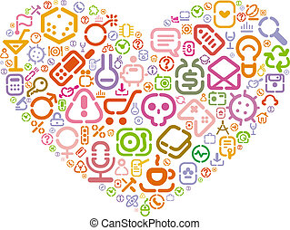 Stencil icons in heart shape
