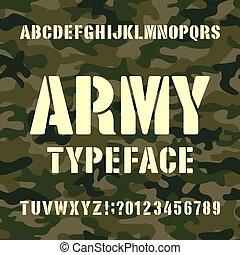 stencil, irodalomtudomány, hadsereg, szomorú, abc, typeface., háttér., camo, számok