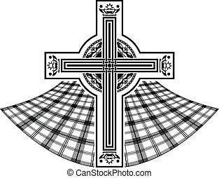 stencil, közül, skót, celtic kereszteződnek