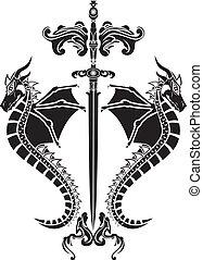 stencil, kard, sárkányok
