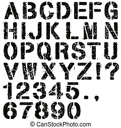 Stencil Letters and Numbers - An Alphabet Set of Grunge...