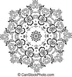 stencil, mandala, conception, indien