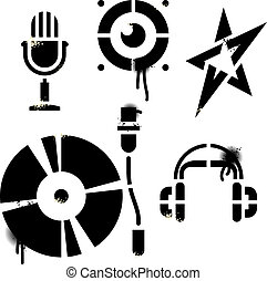 Stencil music icons. Contains no traced images. All elements...