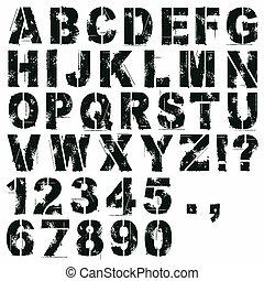 stencil, nombres, lettres
