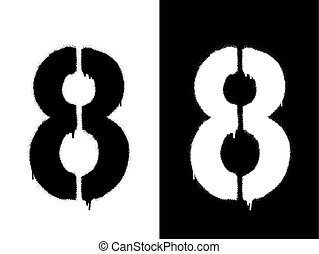 Stencil numeral 8 and drip paint. Black on white, white on black. Vector illustration