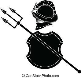 stencil of gladiators helmet