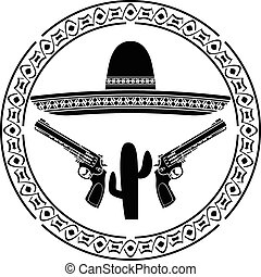 stencil of mexican sombrero and two pistols. second variant....
